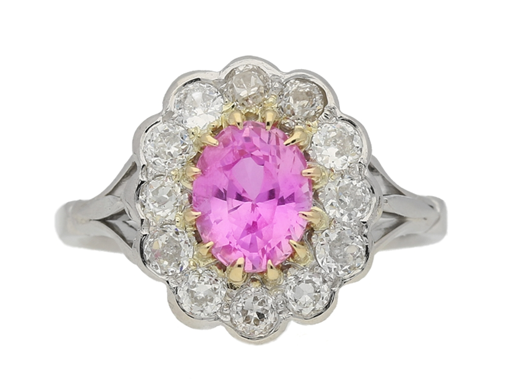Pink sapphire cluster ring, circa 1910 | Ref 21356