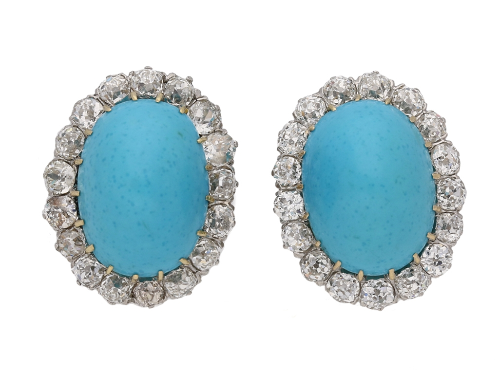 Front View Antique Diamond Turquoise Earrings Berganza Hatton Garden Zoom