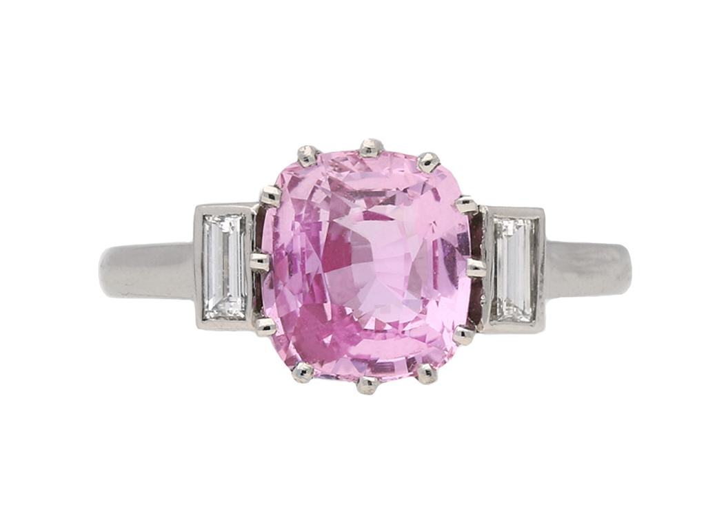 Art Deco pink sapphire and diamond ring, Engl | Ref 23329
