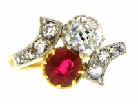 Antique ruby and diamond ring cross/over ring, french circa 1905.