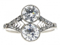 Two stone diamond ring with rose cut diamond set shank, circa 1910.