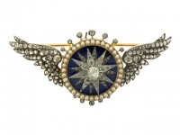 Diamond, pearl and enamel automated turban brooch (sarpech) attributed to Garrard, English, circa 1910.