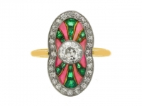 Diamond, emerald and plique-a-jour enamel ring, Polish (Warsaw), circa 1930.