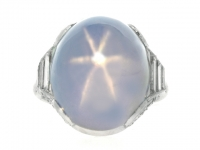 Star sapphire and diamond ring, circa 1920.