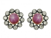 Antique star ruby and diamond earrings, circa 1870.