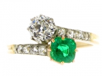 Antique Emerald and Diamond Cross/Over Ring.