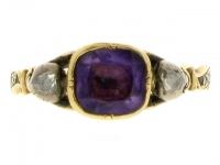 Antique Amethyst and Diamond Memorial Ring, Circa 1761.