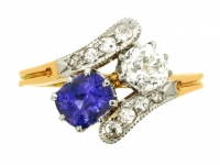 Sapphire and diamond crossover ring, circa 1910.