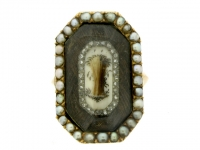 Antique Rose Diamond and Pearl Mourning Ring, circa 1770.