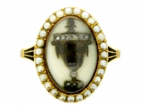 Antique Diamond and Pearl 'Urn' Memorial Ring, circa 1780.