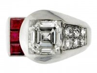 Diamond and ruby ring by Yard Inc., American, circa 1935.
