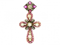 Antique ruby cabochon and diamond cross, French, by Auguste Belleau, circa 1880.