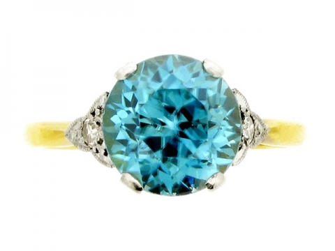 Blue zircon and diamond ring, English, circa 1920.