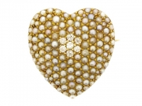 Victorian natural pearl and diamond heart shaped brooch/pendant, circa 1900.