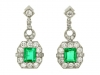 front view Art Deco emerald and diamond earrings, circa 1935.