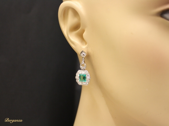 head view Art Deco emerald and diamond earrings, circa 1935.