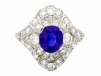 Sapphire and diamond cluster ring, circa 1930.