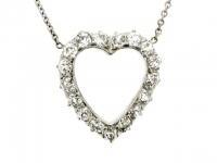 Antique heart shaped diamond pendant necklace, circa 1905.