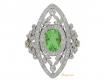 alt='front view Belle Epoque green garnet and diamond dress ring, French, circa 1905.'