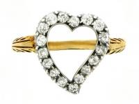 Antique open heart diamond ring, circa 1890.