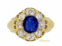 front view Antique natural Ceylon sapphire and diamond coronet cluster ring, circa 1890.