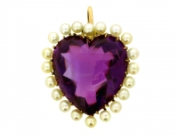 Antique amethyst and pearl pendant, circa 1905.
