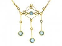 Aquamarine and pearl pendant necklace, circa 1905.