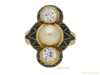 front-art-Nouveau-diamond-pearl-ring-berganza-hatton-garden