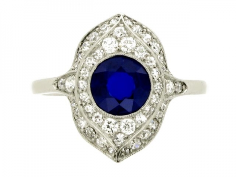Sapphire and diamond cluster ring, circa 1920.