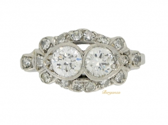 front-veiw-Two stone diamond cluster ring