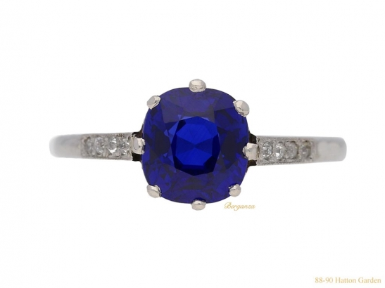 front-view-  Kashmir-Royal-blue-sapphire-and-diamond-ring,-circa-1910.-berganza-hatton-garden