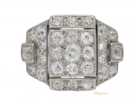 front view Art Deco diamond ring, circa 1930.