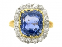 Antique sapphire and diamond cluster ring, circa 1870.