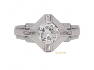 front view Diamond ring in platinum, circa 1950.