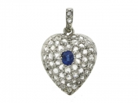 Heart shaped pendant set with a sapphire and rose cut diamonds, French, circa 1920.