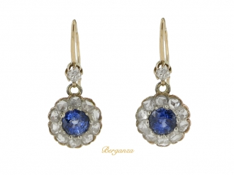 front view Antique sapphire and diamond cluster earrings