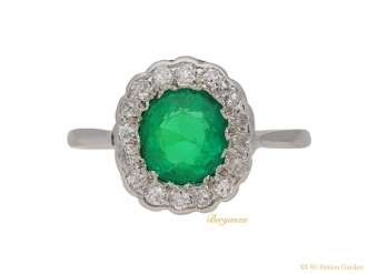 front-Emerald-diamond-cluster-ring-berganza-hatton-garden