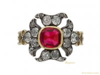 front-view-Georgian-antique-ruby-diamond ring-berganza-hatton-garden