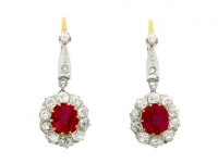 Ruby and diamond cluster earrings, circa 1910.