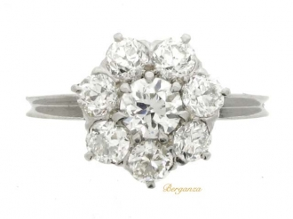 front view Old cut diamond coronet cluster ring, circa 1915.