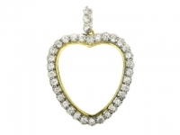 Rock crystal and diamond heart shaped pendant, circa 1890.
