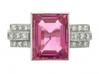 Art Deco natural pink sapphire and diamond ring, circa 1935.