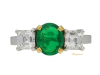 front view Three stone emerald and diamond ring, circa 1955.