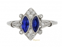 front view Marquise sapphire and diamond ring, circa 1920.