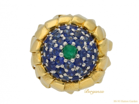 front-view-Tiffany-emerald-sapphire-ring-berganza-hatton-garden