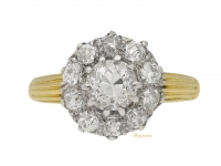 front view Antique diamond coronet cluster ring circa 1890
