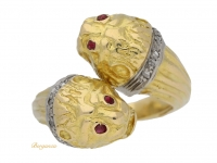 front view Double headed tiger ring by Lalaounis, Greek, circa 1970.