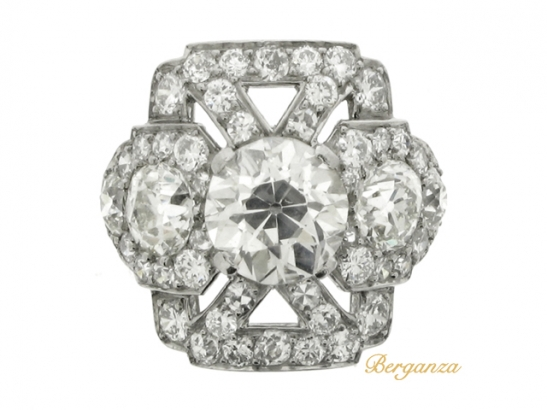 front-view-Ornate diamond cluster ring, circa 1920.
