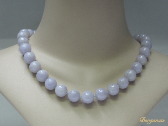 bust-view-Natural lavender jade bead necklace with diamond set clasp