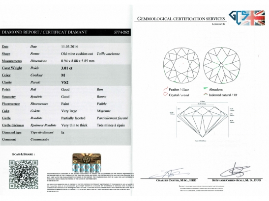 cert-view-Solitaire cushion shape old mine diamond ring